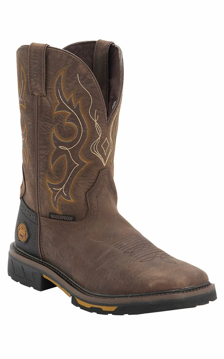 Justin® Hybred™ Men's Rustic Barnwood with Composite Square Toe Waterproof Western Work Boot