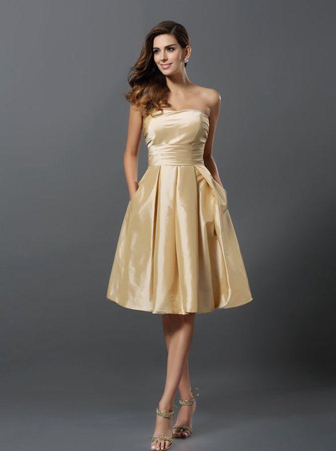 Champagne Bridesmaid Dresses With Pockets Short Bridesmaid Dress Knee Length Taffeta Brides Vestidos Dorados Cortos Vestidos Ninas 12 Anos Vestidos Para Ninas