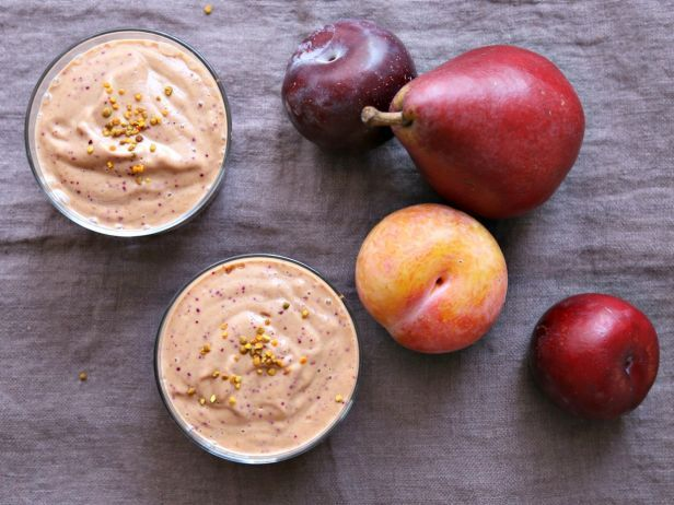 Smoothies aren't just for summer's ripest berries. This smoothie is a made up of pears and plums blended into a mousse-like whip with almond milk, almond butter and cinnamon.