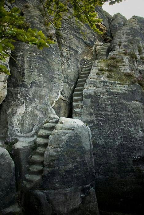 "Wow!! Stone stairway from the 13th century. The stairway is part of a rock castle in the ""Elbsandsteingebirge"" mountains in Sachsen, Germany"