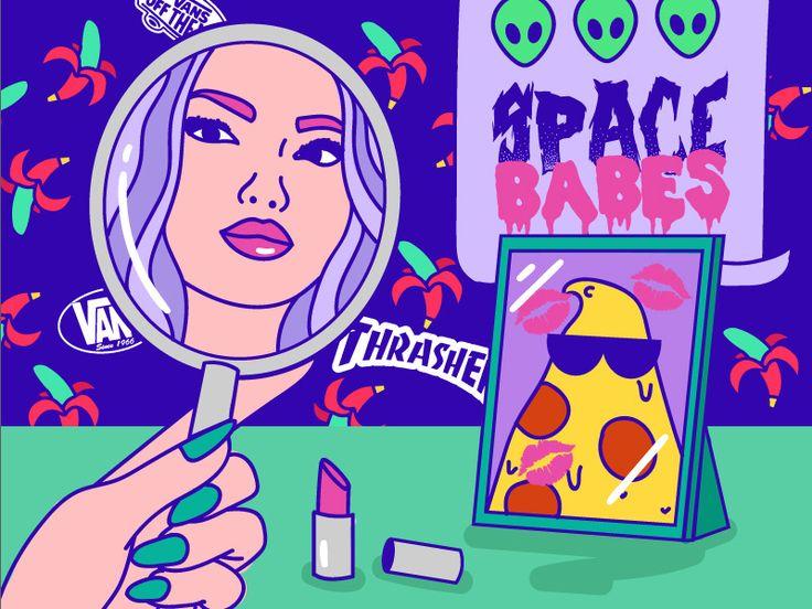 #sadgirl #girl #trasher #pizza #love #space #babe #ufo #alien #art #design #illustration #lilac #vans #sk8