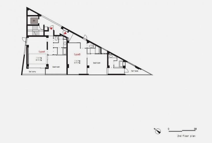 second floor plan of Modern and Thin Triangular Building in Wedge Site
