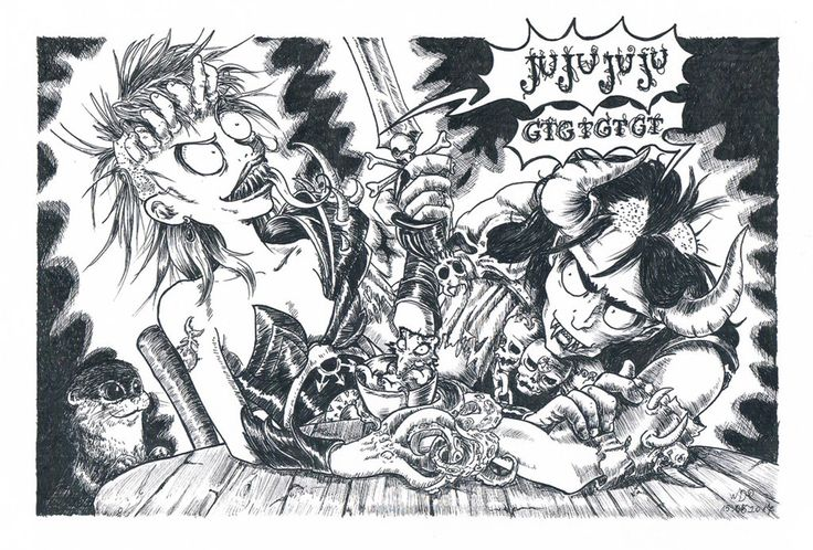 Vesper and Thangorn. Mutants of Slaanesh, characters from Arkadia MUD game.