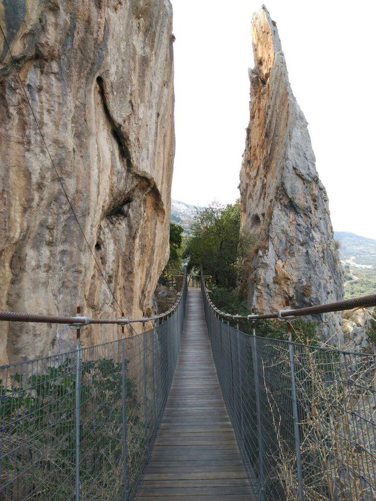 Places of Andalusia./ Puente colgante en la naturaleza. Zuheros, Córdoba.  #nature #montain #spain