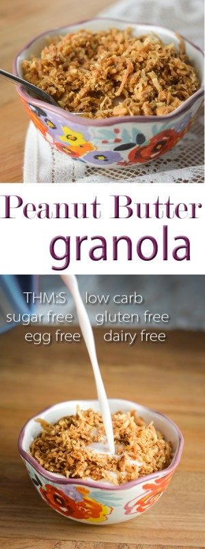 This Peanut Butter Granola makes the perfect ice cream topping or yogurt parfait layer, and it's THM:S, low carb, sugar free, and gluten/egg/dairy free!