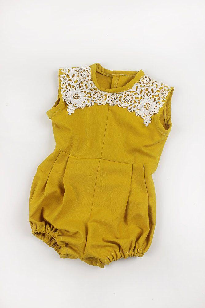 Sale Baby Girl Romper, Baby Romper, Gold Mustard Lace, Bodysuit, Jumper, Vintage Romper, Summer, Boho, Birthday romper, babyshower gift by beeyangcouture on Etsy https://www.etsy.com/listing/292903439/sale-baby-girl-romper-baby-romper-gold