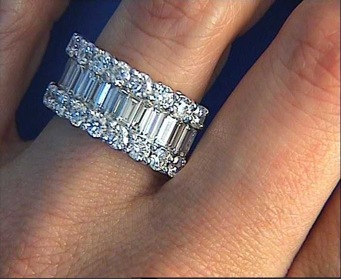 9.20ct Baguettes and Round Diamonds Eternity Wedding Ring Band Anniversary JEWELFORME BLUE