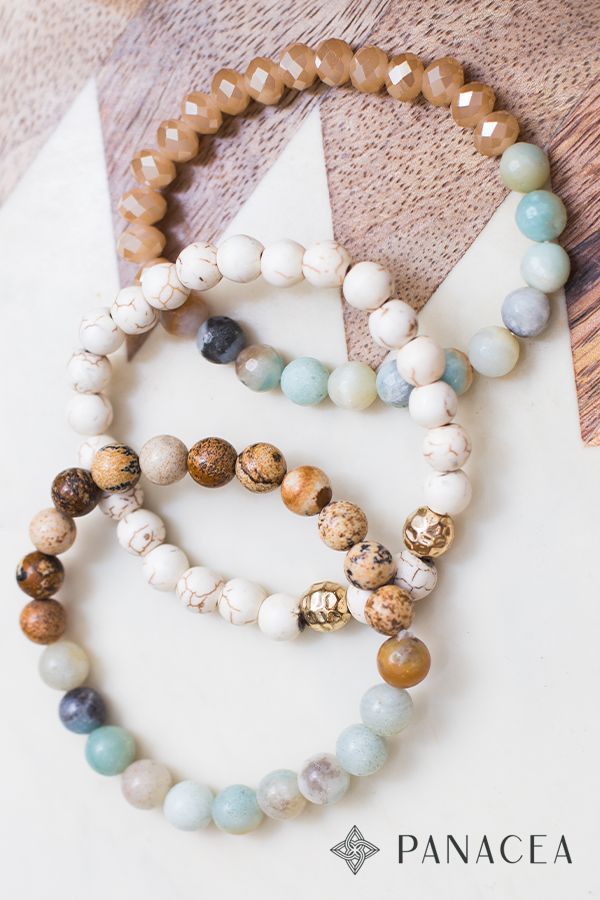 Amazonite Jasper Howlite Beaded Bracelet Set