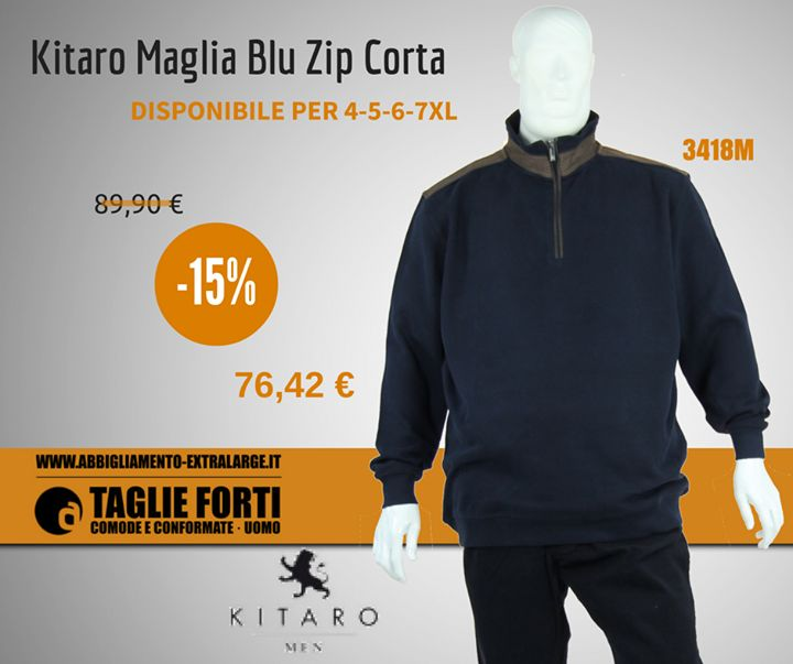 Anno nuovo ... Saldi Nuovi su abbigliamento-extralarge.it !  #Kitaro #maglia #blu -15% di sconto! #saldi #sconti #4xl #5xl #6xl #7xl http://bit.ly/2iJfYx7