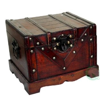 Small Wooden Treasure Box Old Style Treasure Chest Furniture Decor Furniture