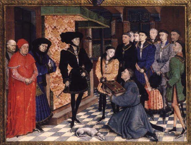 Dipinto di Filippo il buono, duca di Borgogna di Rogier van der Weyden, vestito di nero, da una pagina delle Chroniques de Hainault, 1400-1464.