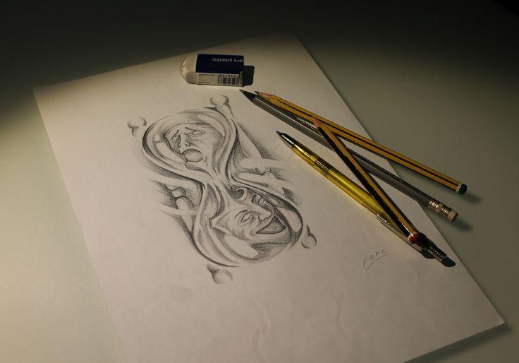 #tattoo clessidra#tattoo sketch#tattoo maschere#tattoo disegno#tattoo drama mask#tattoo hourglass#tattoo black and grey