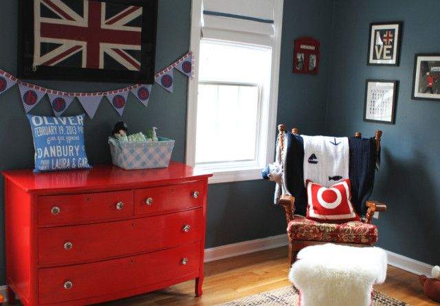 Red and Blue British-Themed Nursery - Project Nursery: British Theme, Blue British Them, Projects Nurseries, Nurseries Fit, Colors Schemes, British Nurseries, British Them Nurseries, Baby Rooms, Nurseries Ideas