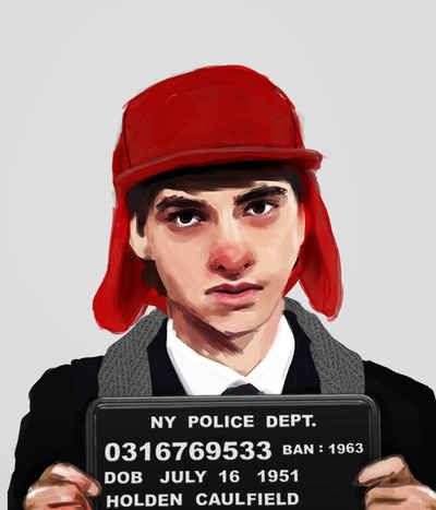 Mugshots of characters from banned books. Holden Caulfield, The Catcher In The Rye .