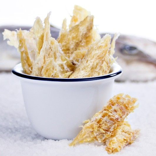 Fish Jerky - 50g Pack from Muscle Food.  Ready to munch – these NEW prime, dried, skinless and boneless Haddock & Cod fillets by SNACKFISH® are ideal for a natural protein rich snack any time.