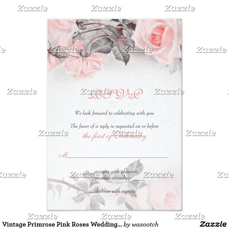 Vintage Primrose Pink Roses Wedding RSVP Card The text on this vintage primrose pink roses wedding reply or rsvp card is fully customizable. To change the text, use the personalize option. For more extensive changes, such as changes to the font, font color, font size, and/or text layout, use the customize it option. The colors on this card are primrose pink (pale peachy pink), grey, and white. This card is currently customized as a wedding reply card, but it could also work well as an…