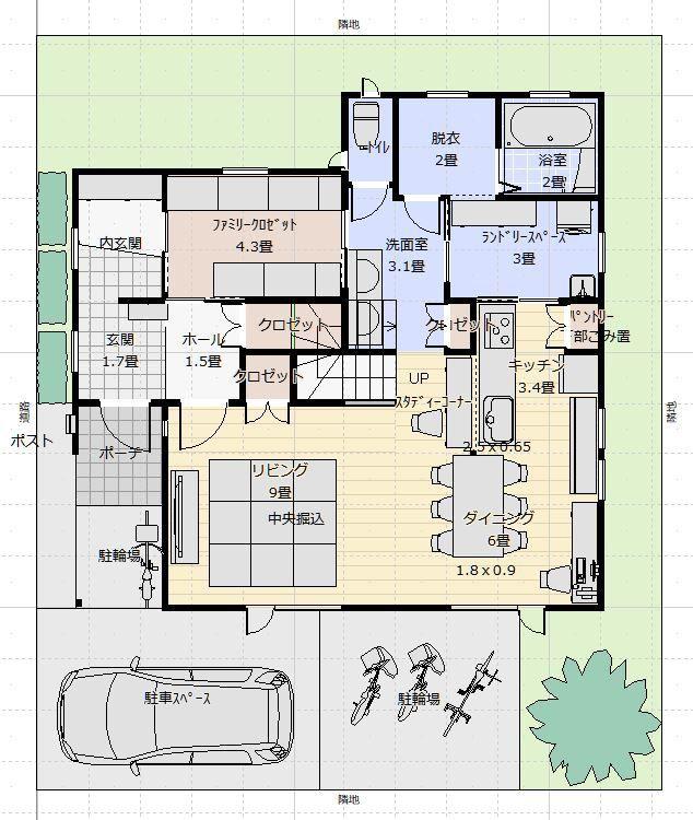 間取り成功例46坪 収納 住みやすさを追求 共働き間取りオタクの家