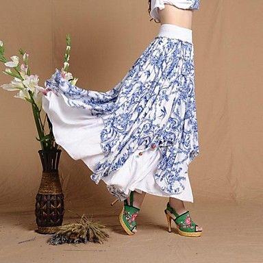 Women's Refreshing Casual Novel Blue and white Long Skirt Elegant Big Hem Asymmetry Irregular Maxi Skirt - USD $ 50.99