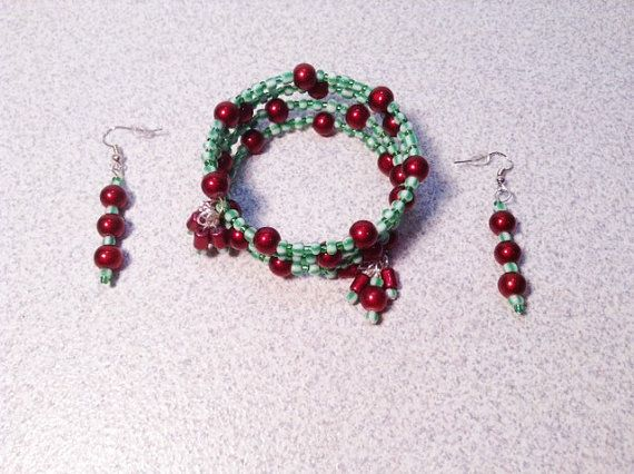 Cherry Red Green White Glass Beads Memory Wire by TheBeadedPathway