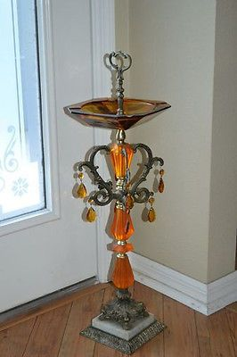 Vintage Art Deco Ashtray Smoke Stand W Amber Glass Ornate