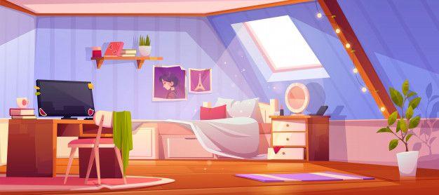 Skachivajte Multfilm Devushka Interer Spalni Na Cherdake Besplatno Bedroom Drawing Anime Background Cartoon Background Gacha club living room background