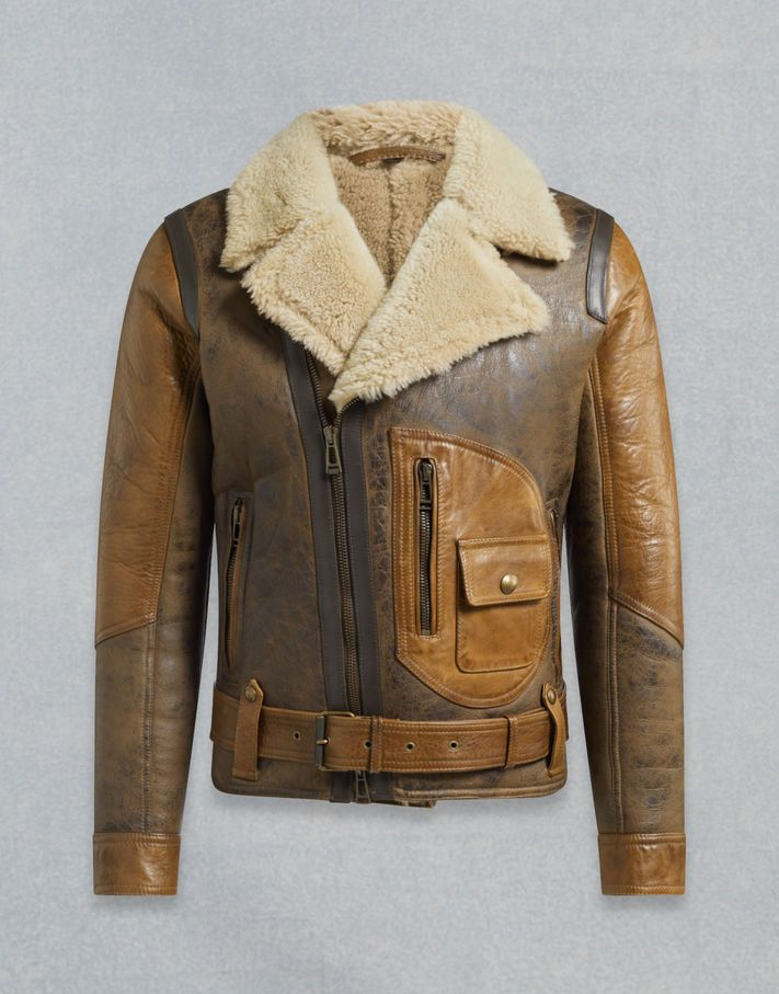 338e70a134f Waxed brown leather lends a vintage effect to this men s shearling aviator  jacket. Shop the Danescroft shearling jacket from Belstaff UK.