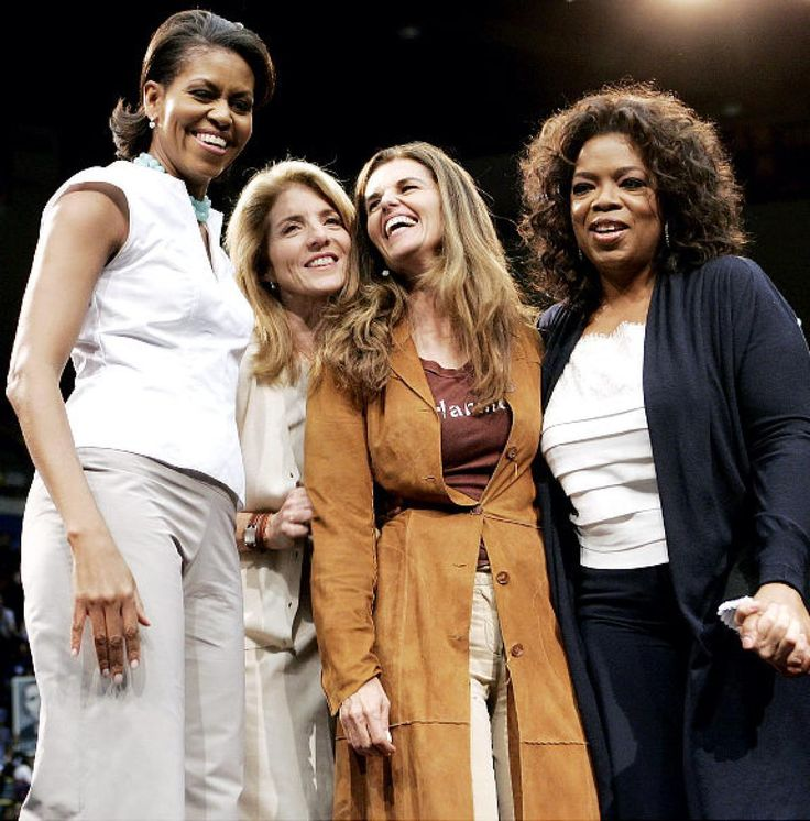 On This Day: Michelle Obama poses with Caroline Kennedy, Maria Shriver and Oprah Winfrey at a rally for Barack Obama, UCLA, Feb. 3, 2008