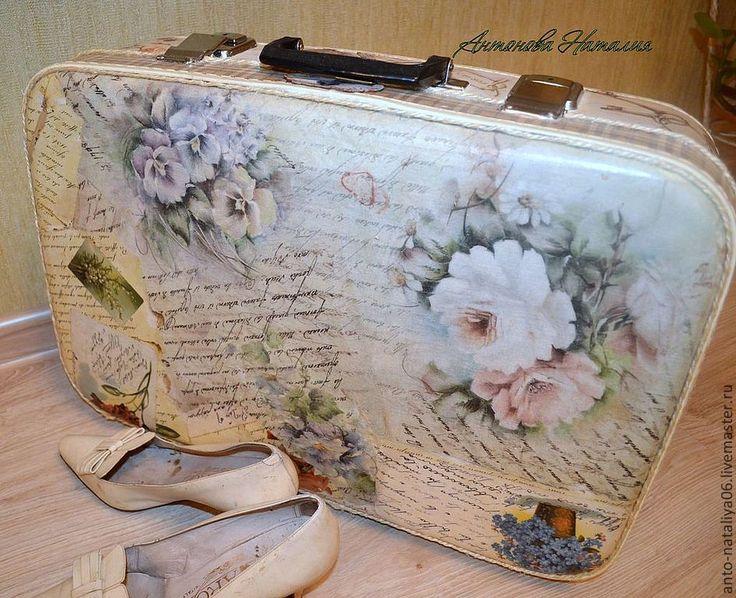 """Купить Чемодан """"Я Вам пишу..."""". - бежевый, рисунок, чемодан, чемодан декупаж"""