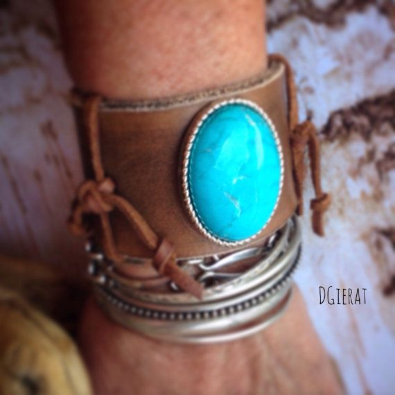 Rustic Leather Cuff Bracelet with Turquoise by dgierat on Etsy