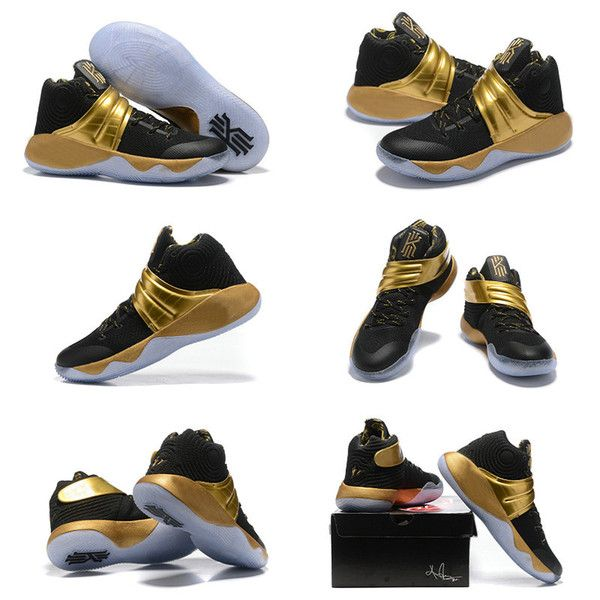 outlet store c48d2 2c1df 2016 Men Kyrie 2 Navy Gold Finals PE Basketball Shoes Sports Sneakers Free  Shipping Drop Shipping