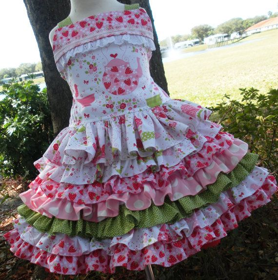 Custom Boutique Strawberry Tea Party 2 Piece by hottotscoolkids2,