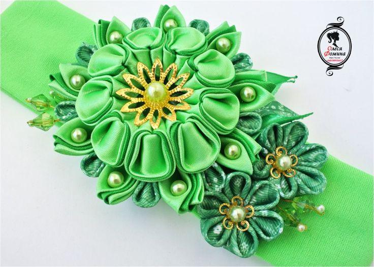 канзаши, повязка канзаши, зеленая повязка, многослойный цветок, фомина