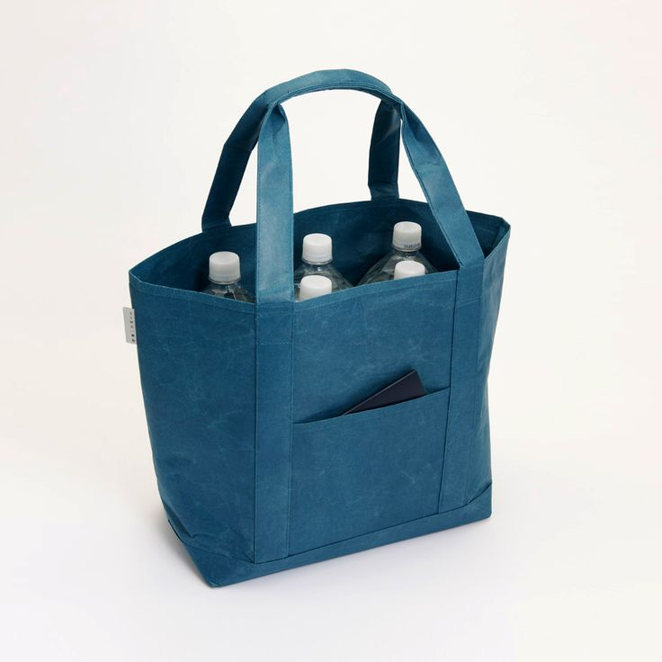 Tote bag (Blue) - Made from Japanese WASHI paper - Light yet strong (load up to 10 kg)