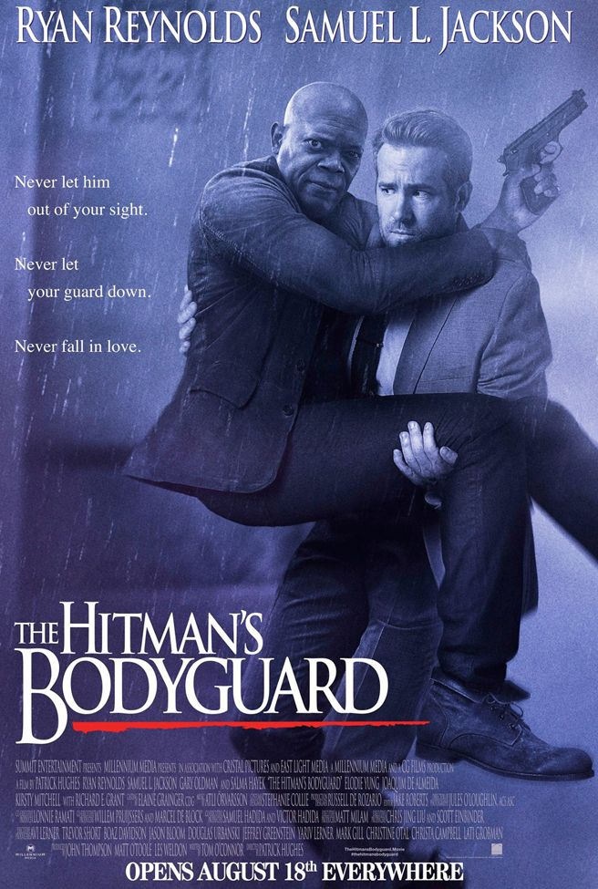 The Ryan Reynolds/Samuel L. Jackson action-comedy THE HITMAN'S BODYGUARD releases funny poster that evokes the classic Kevin Costner THE BODYGUARD poster.