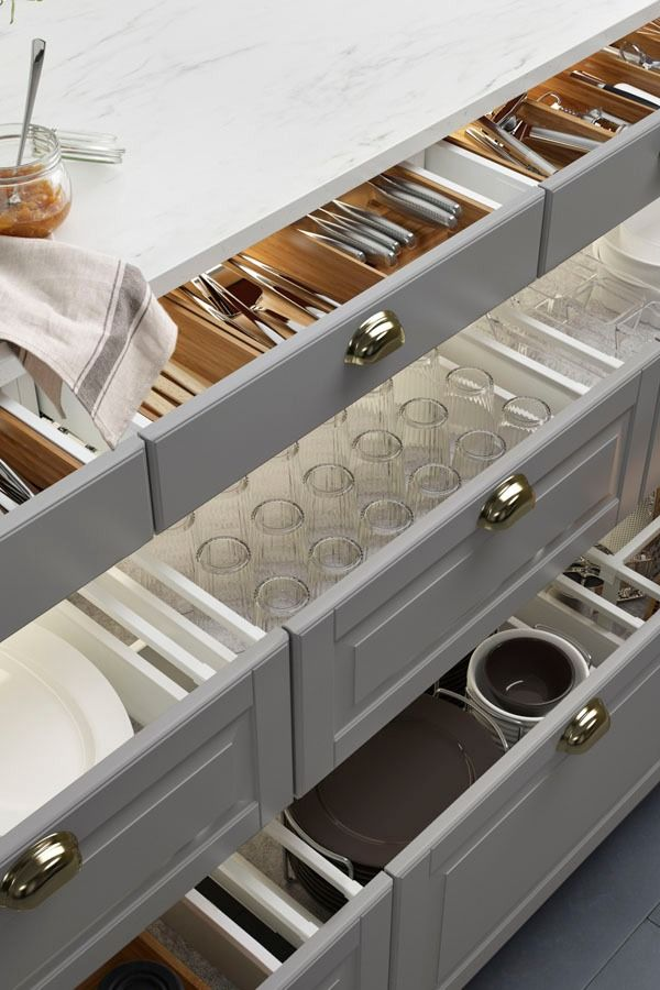 Goodbye junk drawers – hello organization! IKEA SEKTION interior organizers turn chaotic drawers and hard-to-reach corners into things of beauty and efficiency.