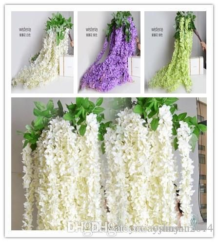 White green purple color Bulk Silk Flowers Bush Wisteria Garland Hanging Ornament For Garden Home Wedding Decoration Supplies