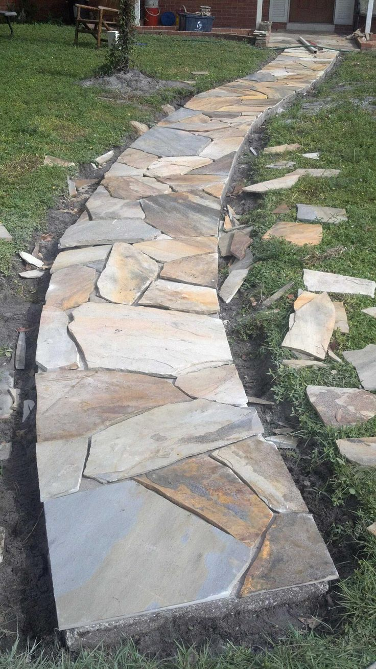 568 best images about flagstone paving longsight nursery for Cement garden paths