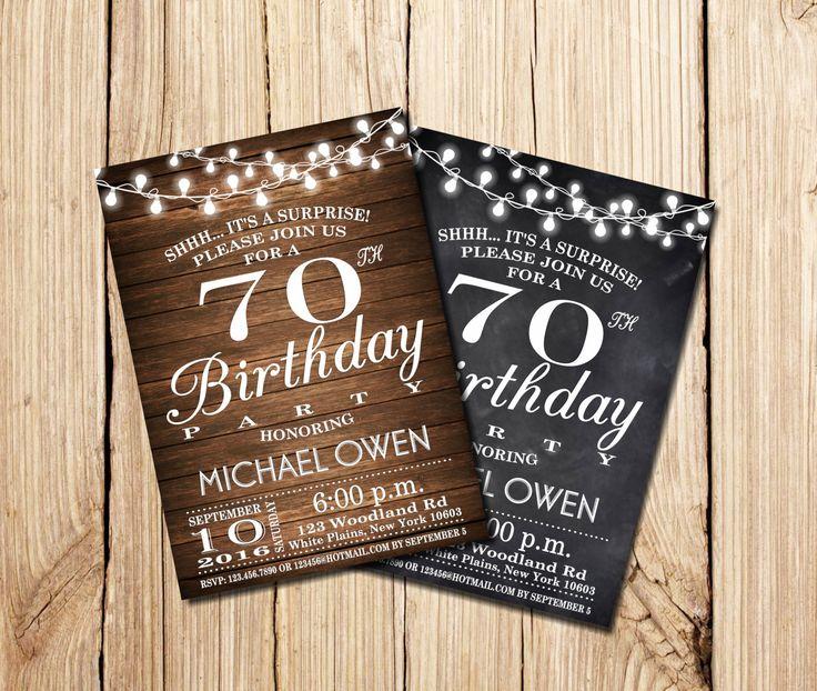 Surprise 70th Birthday Invitation, Wooden, 70th Birthday, Chalkboard, Party, Retro chalkboard, Printable Birthday Invitation, bulbs by mymyparty on Etsy https://www.etsy.com/nz/listing/294692353/surprise-70th-birthday-invitation-wooden