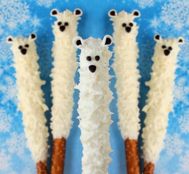 How cute! Yummy Polar Bear Pretzel Pops would be great for a winter birthday party... | AllFreeKidsCrafts.com