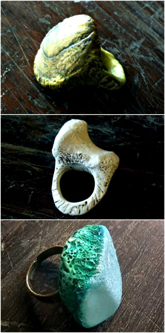 Rustic. organic style rings - Saltwater Adornment (artisan jewellery incorporating natural elements).