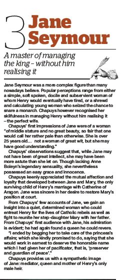 """""""Jane Seymour, a master of managing King Henry VIII, without him realizing it""""- scan taken from a March 2014 issue of BBC History Magazine."""