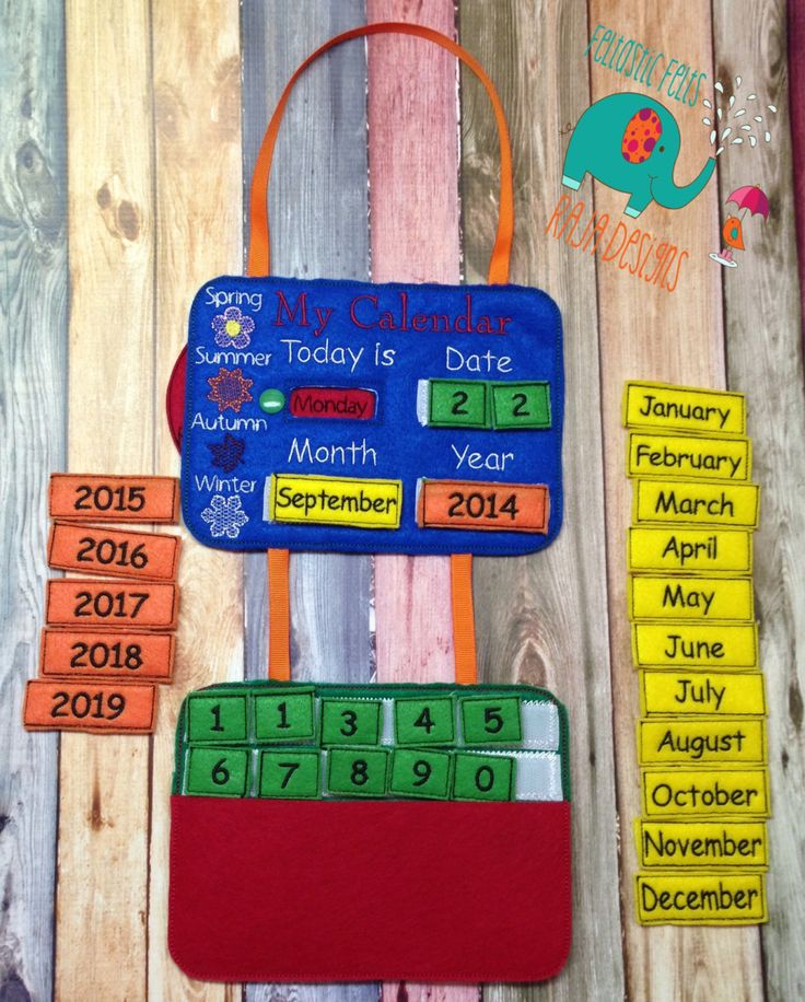Perpetual Calendar embroidered, felt. sign, birthday, gift, date, months, seasons, christmas, holiday, dates, wall hanging. office - pinned by pin4etsy.com