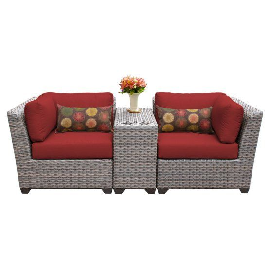 TK Classics Florence Wicker 3 Piece Patio Conversation Set with 2 Sets of Cushion Covers