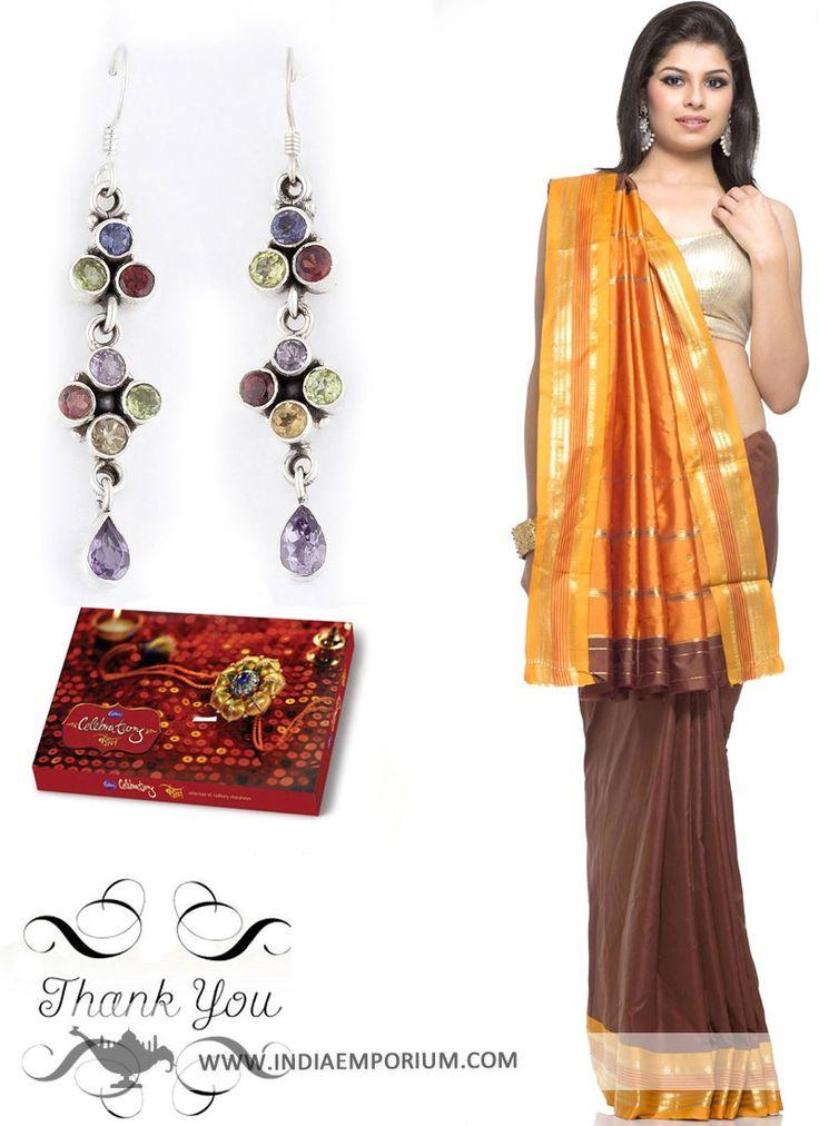 Brown & Deep Mustard #Saree & Multicolor Danglers Hamper For #Sister  #RakhiGifts   #RakshaBandhan