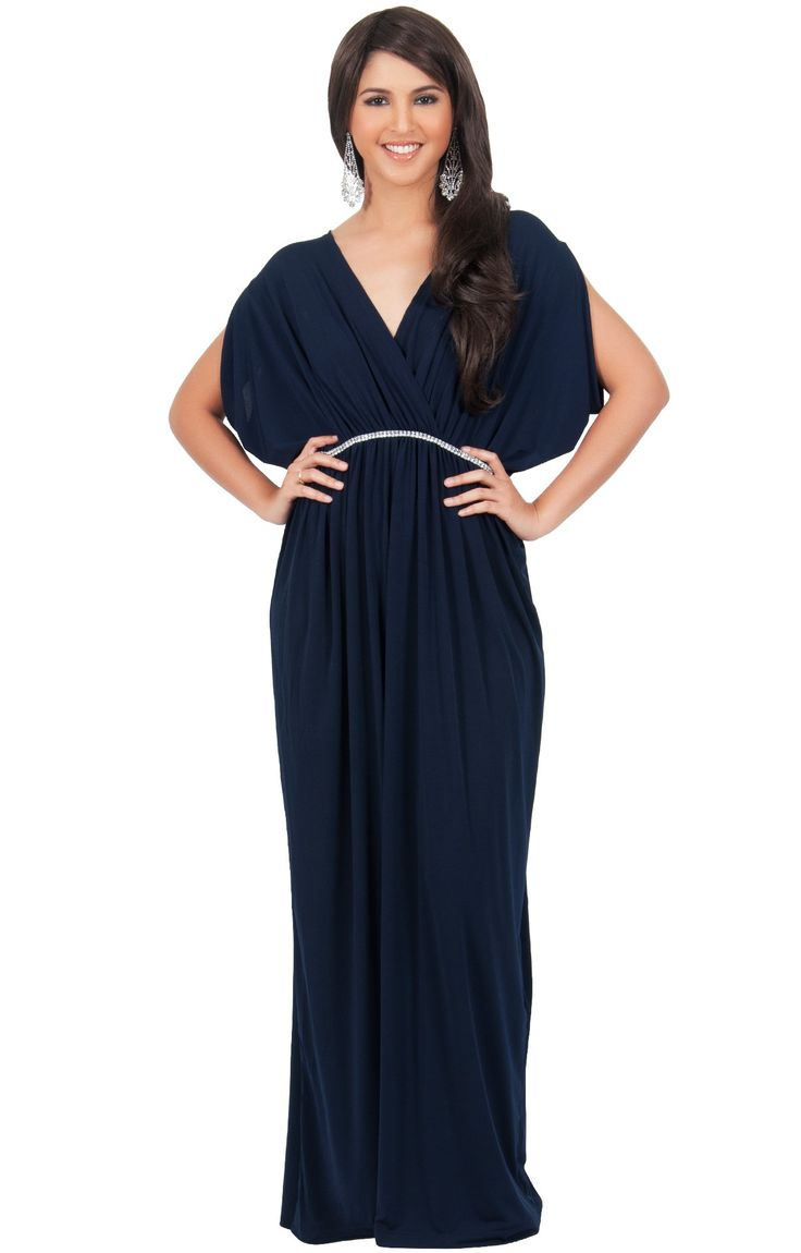 Navy blue short sleeve maxi dress