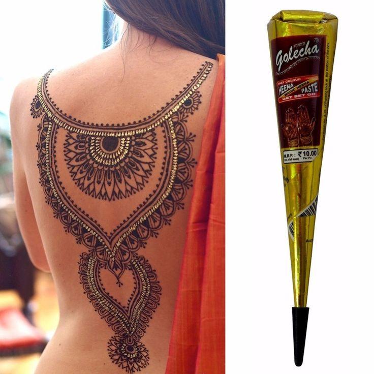 Golecha Nero Indiano Hennè Tatuaggio Incollalo cone Body Art falso dito tattoo henna design body paint kit 25g