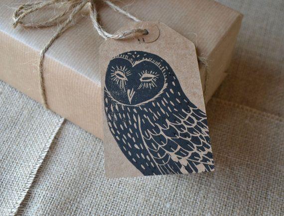 Lino Printed Owl Bird Gift Tags Set of 3 by HandmadeandHeritage