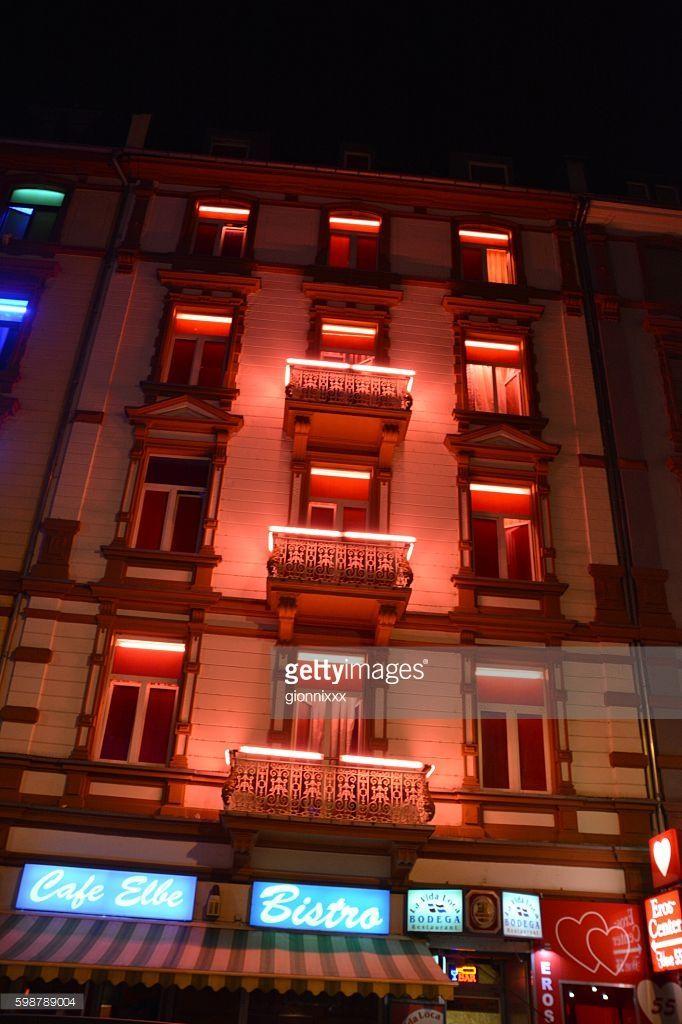 Photo : Puff in Elbestrasse, Frankfurt red light district at night, Germany