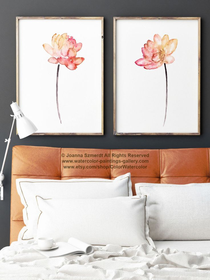 Lotus Flower Coral Watercolor Painting, Colorful Lotuses Art Print Set 2, Pink Red Orange Yellow Abstract Flower Wall Decor, Floral Poster by ColorWatercolor on Etsy https://www.etsy.com/listing/267084324/lotus-flower-coral-watercolor-painting