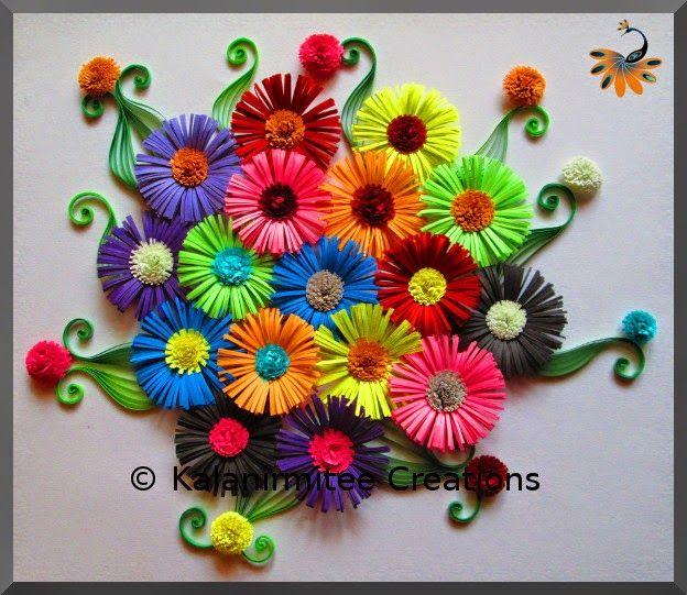 Quilled Fringe Flowers - Visit http://www.kalanirmitee.com